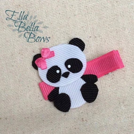 Giant Panda Bear Ribbon Sculpture Hair Clip, double layered, handmade in the USA, Hand Painted eyes, customize the accent colors