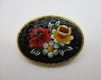 Gold Tone Millefiori Italian Glass Micro Mosaic Flower Bouquet Brooch
