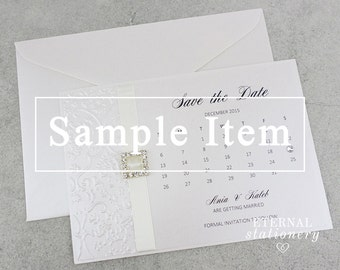 "Elegant Embossed Save the Date SAMPLE - ""Ania"", calendar style"