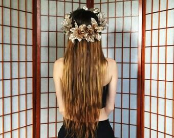 Gold Poinsettia Flower Crown