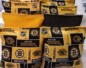 8 ACA Regulation Cornhole Bags - 8 NHL Boston Bruins Logo Print on Black and Yellow Backs