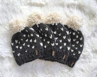 Chunky Knit Fair Isle Hat with Pom | newborn, baby, toddler, child,  Cream Fisherman/Charcoal Grey | THE MODA