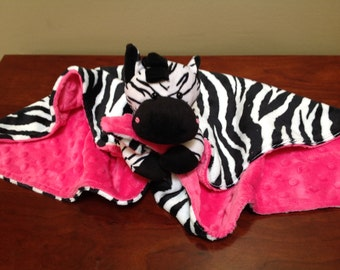 Minky Animal Security Cuddle  Blanket  Black White Zebra Pink Animal Print Lovey Buddy