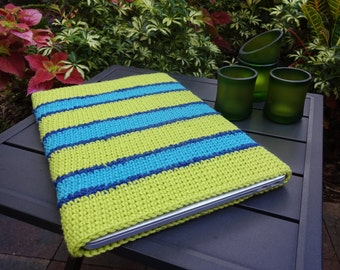 Crochet Laptop Protector - Lime Green and Blue Laptop Cozy