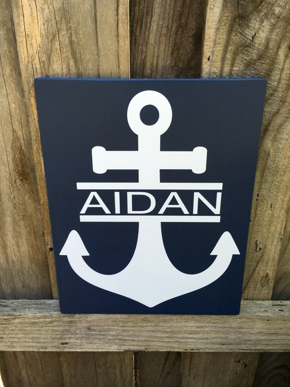 Personalized Nautical Wall Decor : Nautical wall decor nursery anchor sign personalized
