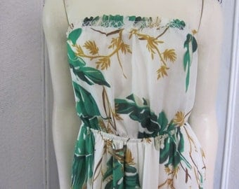 FINAL SALE 1990s Strapless Leafy Print Maxi-Dress, Size S