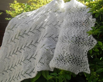 Knitted lace wedding shawl in off white