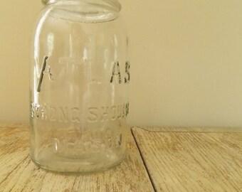 Vintage 1910 Hazel Atlas Strong Shoulder Mason Jar   Antique Clear Glass Collectible Canning Jar