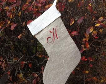 Christmas stocking / Personalized stocking / linen stocking / Monogrammed stocking / Christmas decoration