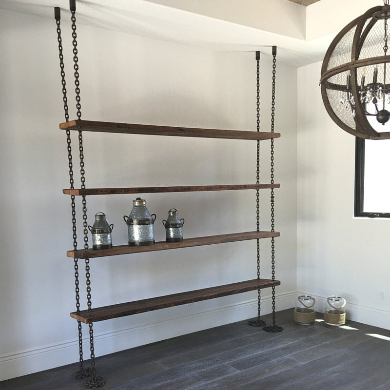 Hanging Chain Shelving Old Reclaimed Wood Industrial