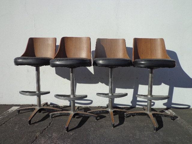 4 Mcm Swivel Bar Stools Stool Danish Chairs Mid Century