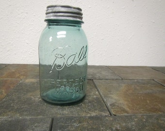 "Antique blue "" BALL PERFECT MASON Jar""  with zinc cover : quart jar,  10 on jar bottom , canning jar * 1923 - 1933 * #3J"