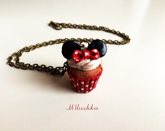 Minnie Mouse Cupcake Charm Pendant Necklace, Polka Dot Rockabilly Pin Up Retro Inspired, Disney Character Inspired Jewelry by Milushka
