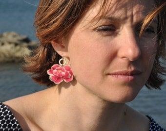 mini peony earrings