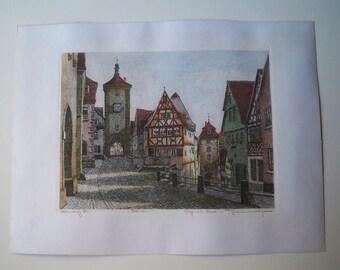 Vintage hand painted etching of Rothenburg by German artist Ernst Geissndorfer
