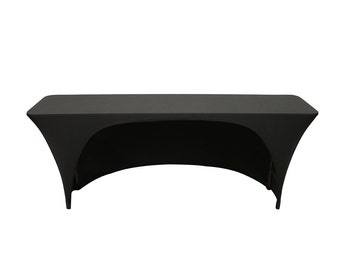 Spandex 6 Ft X 18 Inches Open Back Rectangular Table Covers Black