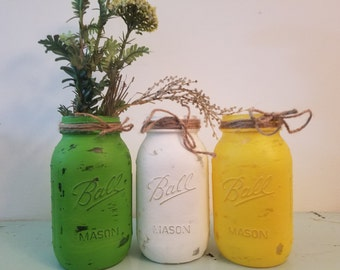 Distressed Green, White, and Yellow Mason Jar, Painted Mason Jar, Wedding, Baby Shower