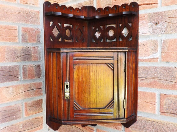 Antique Hanging Corner Cupboard Small Wall Curio Cabinet