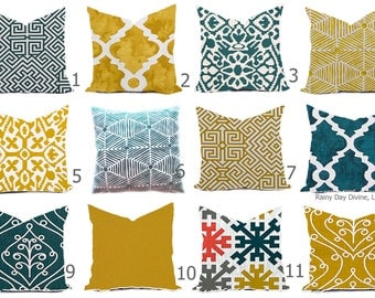 Pillow Cover Throw Accent Pillows Custom  - Plantation Blue Teal Golden Rod Mustard Yellow Gold Modern Lattice Block Print - 16x16, 18x18