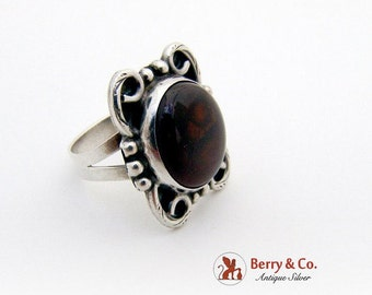 SaLe! sALe! Mexican Agate Ring Sterling Silver 1960