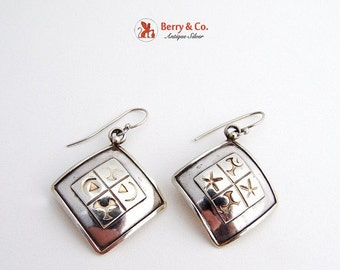 SaLe! sALe! Arts and Crafts Square Dangle Earrings Sterling silver hand made