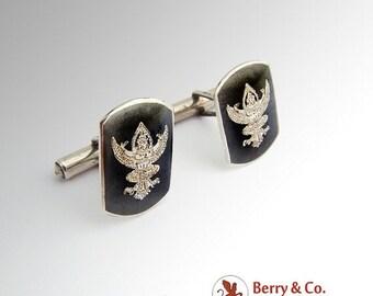 SaLe! sALe! Siam Niello Cufflinks Sterling Silver 1940