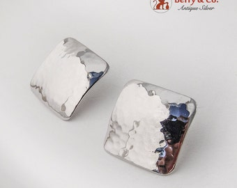 Hammered Square Post Earrings Sterling Silver 1980
