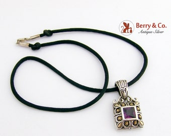Ornate Square Pendant Sterling Silver Amethyst Black Silk Chain