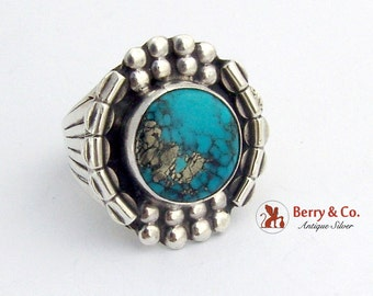 Round Beaded Turquoise Imitation Ring Sterling Silver