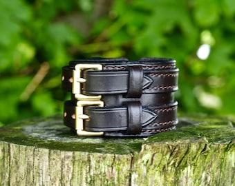 English Leather cuff bracelet wrist