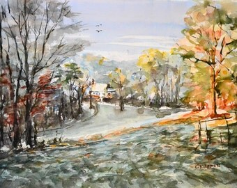 A Winter Morning Landscape, Watercolor on Paper 35×50 cm