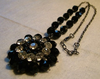 Vintage Glass Bold Black & White Pendant Necklace