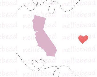California State SVG Digital cut files - Long Distance Relationship - Use with Cricut or Silhouette Studio