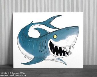 shark print shark art print nautical decor shark art sea life print