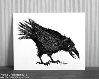 Crow Art, Crow Print, Gothic Crow Art, Halloween Crow, Halloween Decor, Pen and Ink Illustration, Gothic Raven, Crow Picture, Raven Artwork