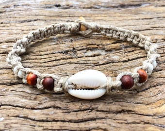 Handmade Hemp Shell Bracelet with Cowrie Shell & Timbre Beads, Macrame, Sea Gypsy