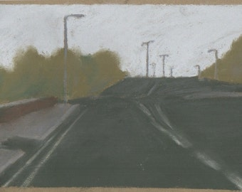 Oil pastel drawing of a road