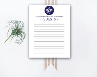 INSTANT DOWNLOAD Eagle Court of Honor printable guest page / Eagle Scout Court of Honor Guest Book / Eagle Court guestbook / Eagle Scout