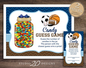 Instant Download Sports Candy Guessing Game, Soccer Basketball Football Baseball Baby Shower Candy Guess Game, Chevron Candy Party Game 80A