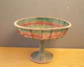 Vintage wire woven fruit bowl / Handmade vessel /  Woven basin / Made in USSR 1970s