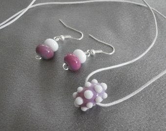 Gorgeous Purple and White Lampwork Glass Necklace and Earring Set- Womens Jewelry, Jewelry Set, Gift For Women, Teen Jewelry