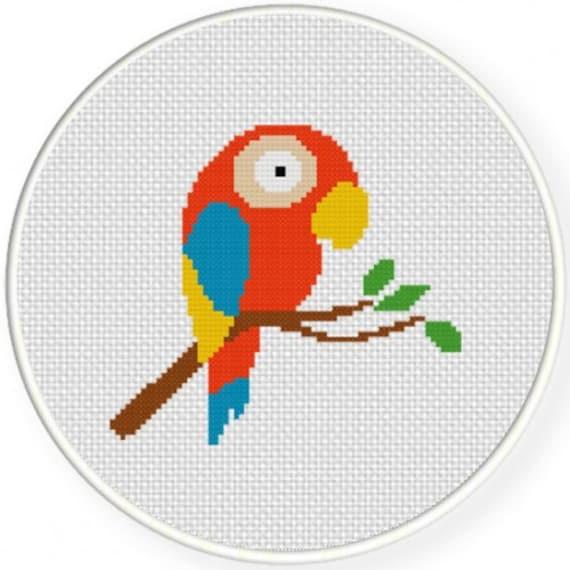 Cute Parrot Handmade Unframed Cross Stitch Home Decor Wall Art Colorful Wall Art Bird Gifts Parrot Bird Wall Art Nursery Themes From