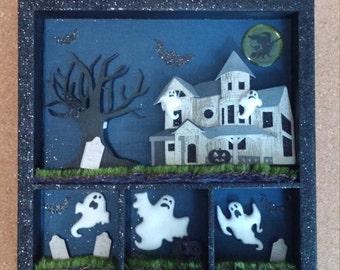 Halloween Haunted House Shadow Box