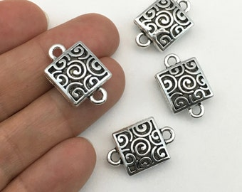 4 puff square connectors antique silver,15mm x 23mm  #CON 048