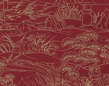 Asian Fabric, Toile Fabric, Serenity, Cotton, Fabric by the Yard, Red, Gold Metallic, Scenic