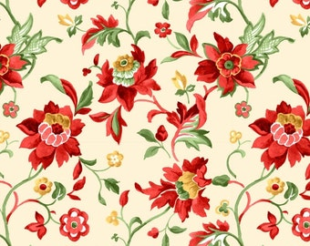 Floral Fabric by the Yard, Quilt, Cotton, Red, Green, Gold, Jacobean, Crimson, Ivory, Cream, Christmas, Vine, Large Print, Decor