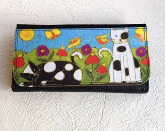 Print cat wallet, print canvas wallet, Cat wallet, womens wallet,