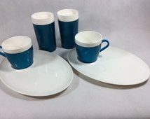 Vintage cup plate beaker melamine teal 6 piece picnic set for 2 TV dinner snack set barbecue beach garden camping RV caravanning camper van