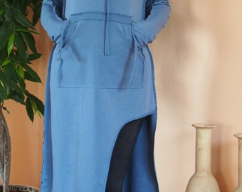 Blue Cotton Dress /Big Pocket Dress / Extravagant Dress with  Hooded & Nara DR001