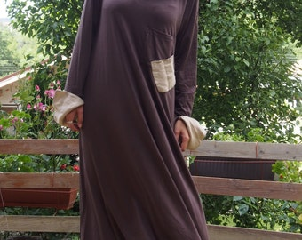 Maxi Long Dress  Brown Extravagant Dress  Long Sleeves Dress sleeves and  neckpiece linen & Nara DR018
